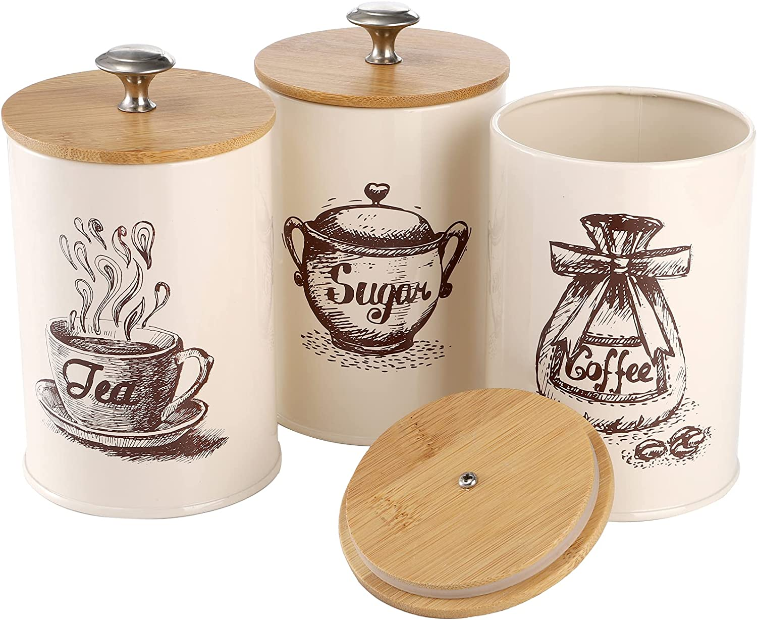 YOUEON Set of 3 Metal Kitchen Canister Food Storage Tin with Bamboo Lid Airtight, Coffee Sugar Tea Canister Vintage Storage Jar for Flour, Farmhouse Kitchen Decor, Beige