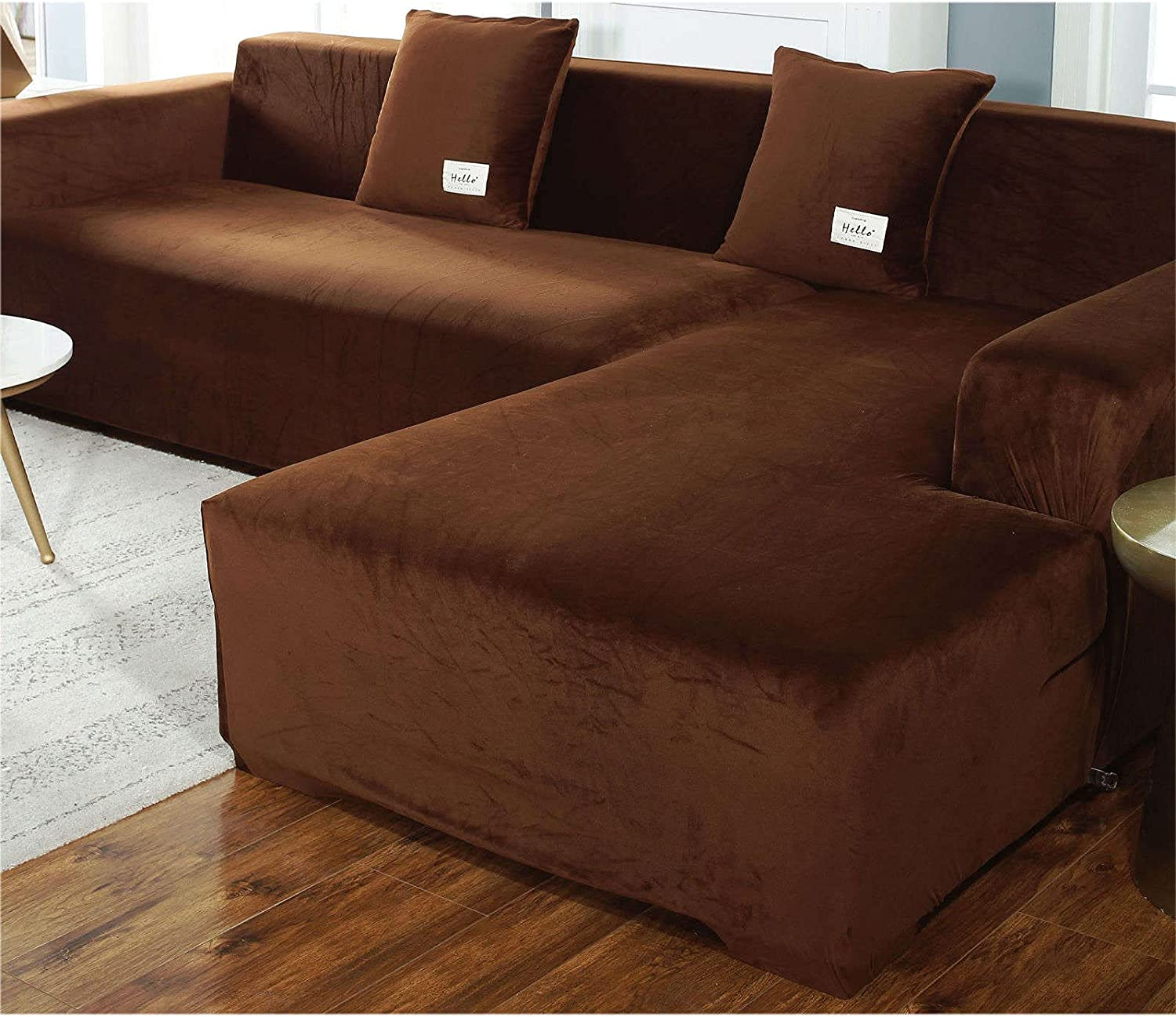 Velvet Plush Stretch Sofa Slipcover Sectional Max 45% OFF Animer and price revision Soft Couc 2 Piece