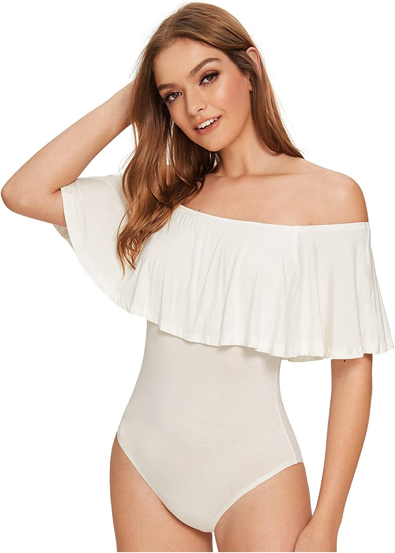 Verdusa Women's Off The Shoulder Short Sleeve Ruffle Bodysuit