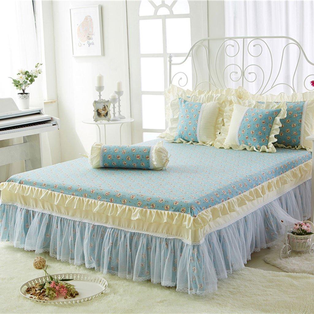 LINGZHIGAN Azul patrón de Flores de algodón Cubre Falda Cama Sola ...