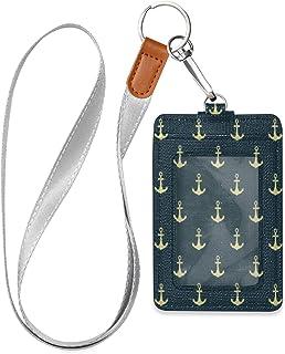 HMZXZ Porte-badge d'identification vertical en cuir synthétique avec cordon détachable Motif ancre marine Bleu