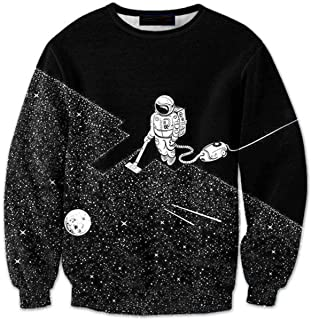 28f71300db38 CORIRESHA Coli Tori Black 3D Outer Space Astronaut Print Long Sleeve Pullover  Sweatshirt