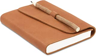 Leather Bound Writing Journal with Handmade Recycled Cotton Paper and Natural Stick Look Pencil, use as Notebook, Diary or Artist Sketchbook (5 x 7, TAN + PENCIL)