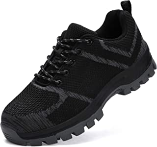 Escort Runners Steel Toe Shoes for Men Industrial Construction Work Non Slip Safety Shoes Sneakers Outdoor Hiking Trekking Trail Puncture ProofShoes