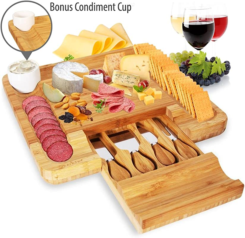 Bamboo Cheese Serving Board Set Wooden Plate Cheese Tray And Knife Set Cheese Cracker Meat Cheeseboard Server Platter Utensils Drawer Tray 4 Stainless Steel Knives Bowl NutriChef PKCZBD10 5