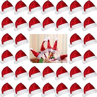 Biubee 36 Pcs 1'' Christmas Mini Red Santa Hats- Lollipop Bottle Candy Cover Cap Santa Claus Hats for Christmas Party Decor Doll Handy Craft