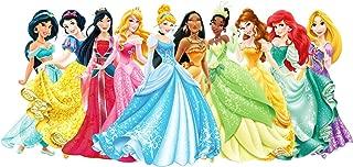 Disney Princess Snow White, Cinderella, Aurora, Ariel, Belle, Jasmine, Pocahontas, Mulan, Tinker Bell Edible Image Photo 1/4 Quarter Sheet Cake Topper Personalized Custom Customized Birthday Party