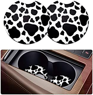 2 Pack Car Coasters for Drinks Absorbent - 2.75 Inch Cute Car Cup Holder Coasters for Women, Removable Cup Holder Coaster for Your Car, Car Interior Accessories for Women & Girls (White Leopard)