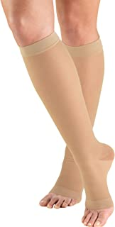 Truform Sheer Compression Stockings, 15-20 mmHg, Women's Knee High Length, Open Toe, 20 Denier, Nude, Large