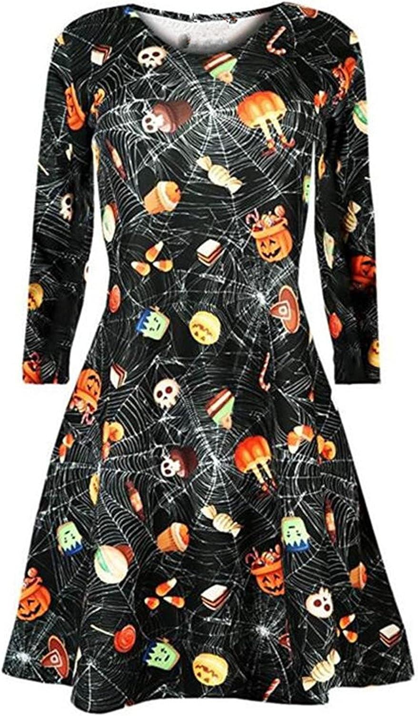 Halloween Womens Funny Cartoon Pumpkin Print Midi Dress O Neck Long Sleeves Prom Costume Dresses Casual Dress