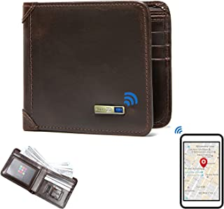 $45 » SmartLB Smart Anti-Lost Bluetooth Tracker Wallet, Position Record (Via Phone GPS), Bifold Cowhide Leather Men Wallets (Cof...