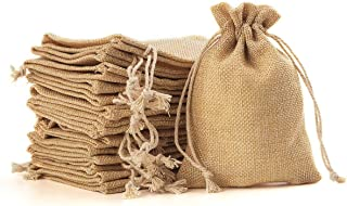 YUXIER Burlap Bags with Drawstring Party Favor Bags for Wedding Decorations, Storage Arts Crafts Projects, Presents, Snacks, Jewelry Candy Christmas 5.3 x 3.7inch (Flaxen) Pack of 100 Small Gift Bags