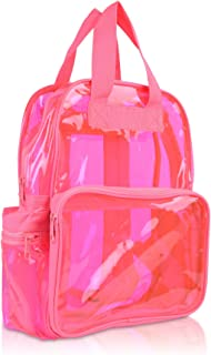 Small Transparent Clear Backpack in Neon Pink