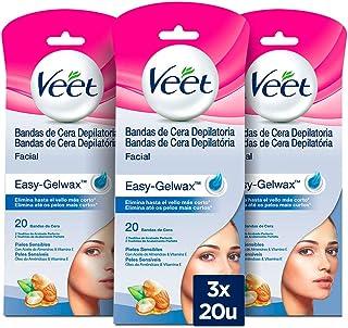 Veet Bandas de Cera Depilatoria Facial para Piel Sensible - Paquete de 3 x 20 unidades - Total: 60 unidades