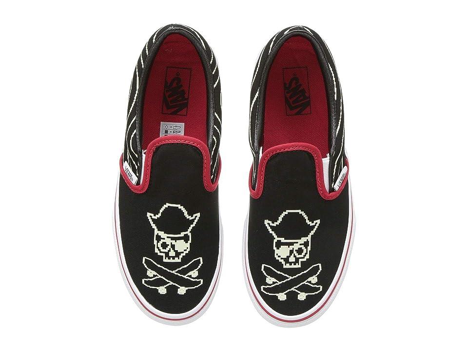 Vans Kids Classic Slip-On (Little Kid/Big Kid) ((Pixel Pirate) Black/Racing Red/True White) Boys Shoes