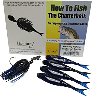 Harmony Fishing Company Chatterbait Kit - Z-Man 3/8oz Chatterbait + Z-Man Razor ShadZ + How to Fish The Chatterbait Guide