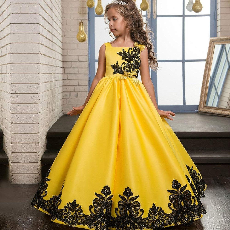 子供の女の子のドレス エレガントなレースのアップリケノースリーブフラワーガールドレスイエローブラックコントラストカラー1-14歳 女の子のパーティーウェディングブライドメイドの王女のドレス (サイズ : 6-7T)