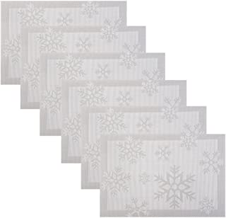 WOMHOPE Set of 6 - Christimas Xmas Snow PVC Woven Vinyl Place Mats Table Placemats Heat-Resistant Table Mats Outdoor/Indoor (Silver)