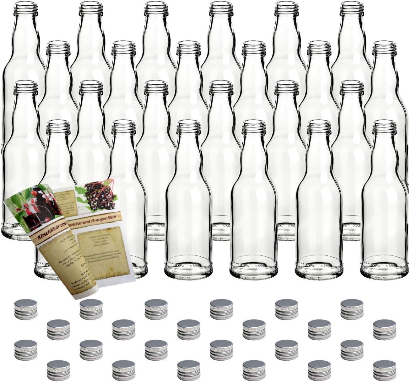 gouveo Juego de 24 botellas vacías de cristal de 200 ml con tapón de rosca plateado y folleto de recetas de 28 páginas (idioma español no garantizado).