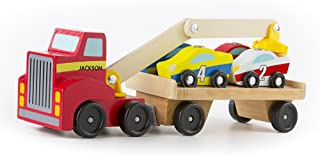 Melissa & Doug Personalized Magnetic Car Loader Wooden Toy Set with 4 Cars & 1 Semi Trailer Truck Vehicle