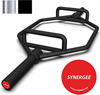 """Synergee 25kg Chrome & Black Olympic Hex Barbell Trap Bar with Two Handles for Squats, Deadlifts, Shrugs and Power Pulls. 56"""" Long Bar with 10"""" Sleeve."""