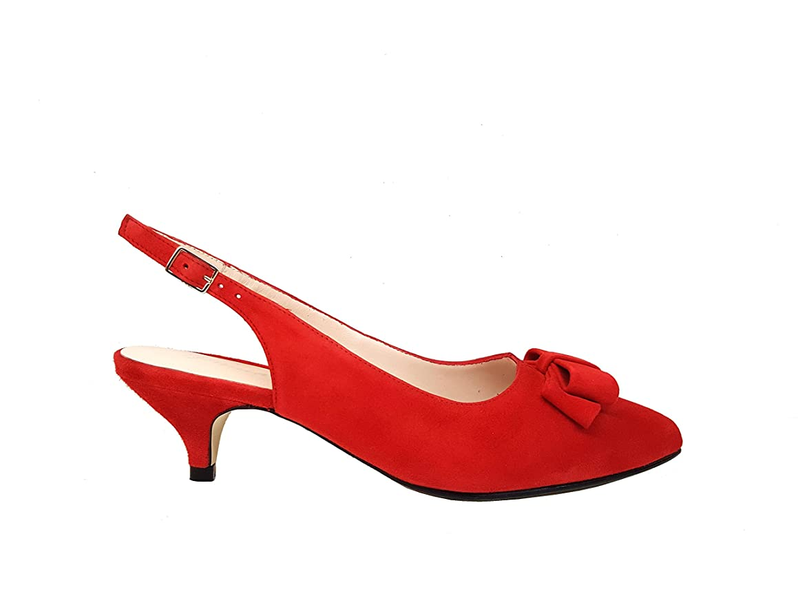 GENNIA DIARALING - Women Slingback Closed Toe Leather Pumps Shoes with Low Heel 4 cm and Bow