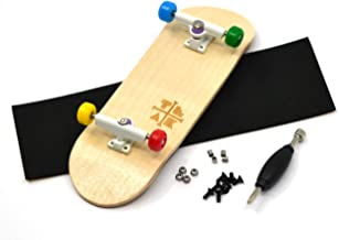 PROlific Complete Fingerboard with Upgraded Components - Pro Board Shape and Size, Bearing Wheels, Trucks, and Locknuts - 32mm x 97mm Handmade Wooden Board - Everything is Awesome Edition