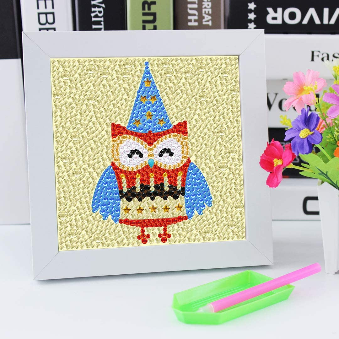 5D DIY Diamond Painting Kit for Kids Full Drill Painting and Special Shaped Drill Embroidery Arts Craft by Number Kits with Wooden Frame 7.1x7.1inches Alpaca B