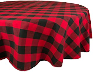 DII Cotton Buffalo Check Plaid Round Tablecloth for Family Dinners or Gatherings, Indoor or Outdoor Parties, & Everyday Use (70x70