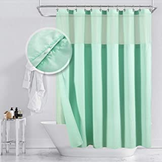 Barossa Design Cotton Blend Waffle Weave Shower Curtain with Snap-in Fabric Liner, Hotel Luxury Spa, Mesh Top Window, Machine Washable, Light Turquoise, 71x72 Inches