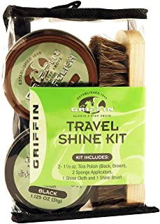 GRIFFIN Travel Shoe Shine Kit - Includes Black Shoe Polish, Brown Shoe Polish, Sponge Applicators, Shoe Shine Cloth, and Shoe Shine Brush - Made in the USA