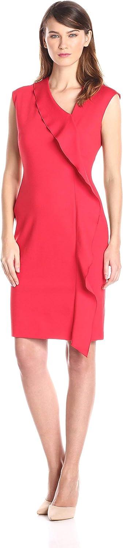Anne Klein Women's Cap-Sleeve Asymmetric Ruffle Dress