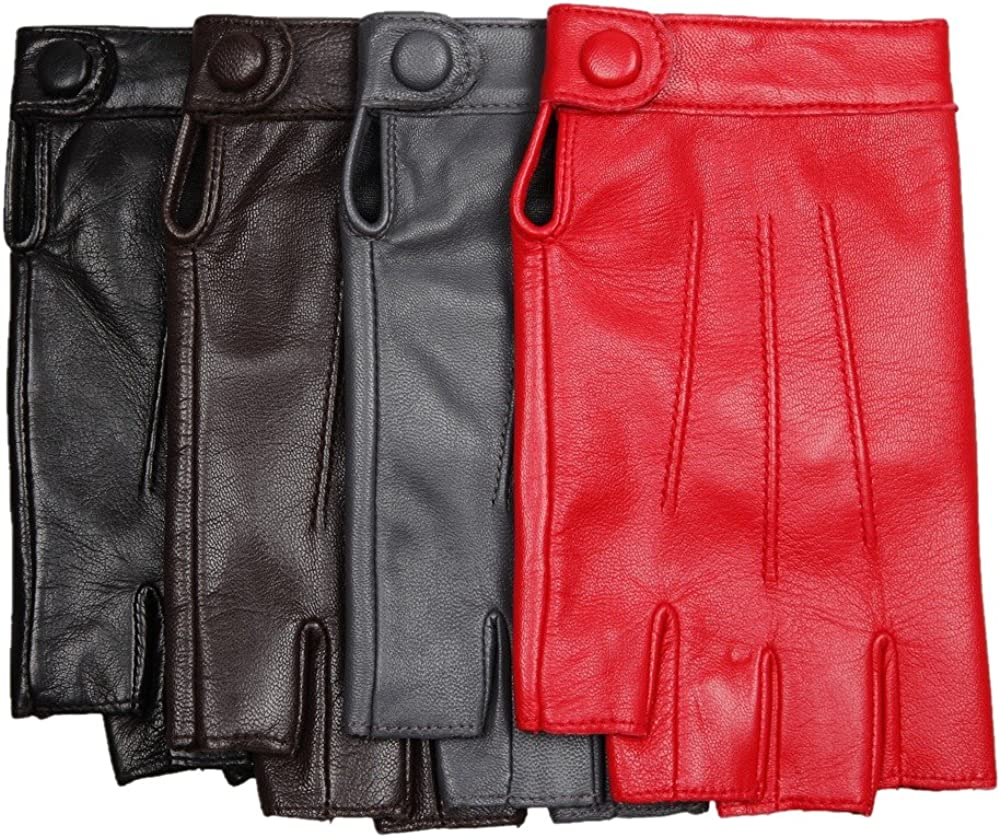 Womens Fingerless Half Finger Lambskin Leather Gloves for Driving Biking Cycling Shooting Performance Dancing Cosplay