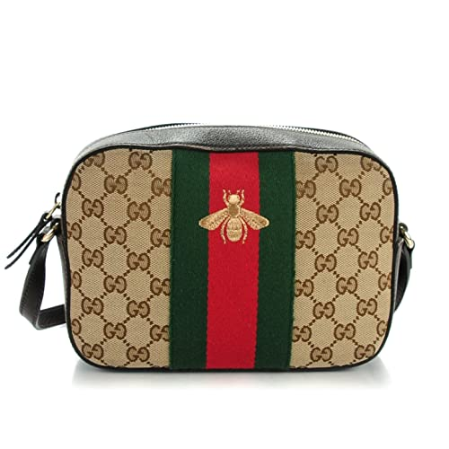 937c788a775 Gucci Bee Brown Web Camera Case Webby Red Stripe Camera Leather Bag Italy  New