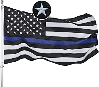 Homissor Thin Blue Line Flag -3x5 Black White and Blue Flag - Embroidered 210D OxfordNylon American Police - Stars and Sewn Stripes Outdoor Banner
