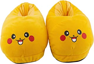 Qualtos Yellow Smiley Warm Shoes Pikachu Emoji Indoor Bedroom Slipper Free Size Funny Soft Plush for Adults Kids Teens Poo...