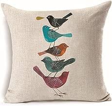 LYNZYM Cotton Linen Square Throw Pillow Case Decorative Cushion Cover Pillowcover for Sofa 18X 18 bird pillow covers