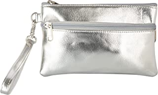 Aspen Leather Wristlet Bag for Women & Girls College, Office, Fashionable, Trendy, Party, Zip Closure (Silver)