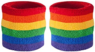 Suddora Striped Wrist Sweatbands - Athletic Cotton Terry Cloth Wristbands for Sports (Pair)