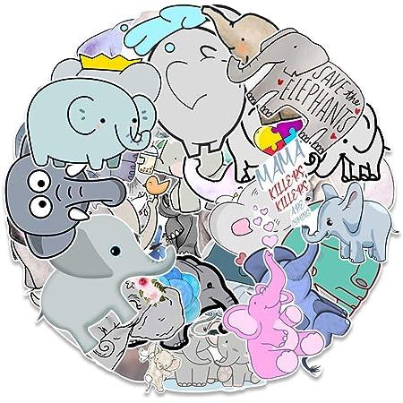 50 PCS Cute Elephant Laptop Stickers for Decoration Water Bottles, Skateboard,Luggage,Album,Scrapbook,Waterproof Kawaii Elephant Sticker Pack for Kids,Girls,Vinyl Decals Animal Stickers