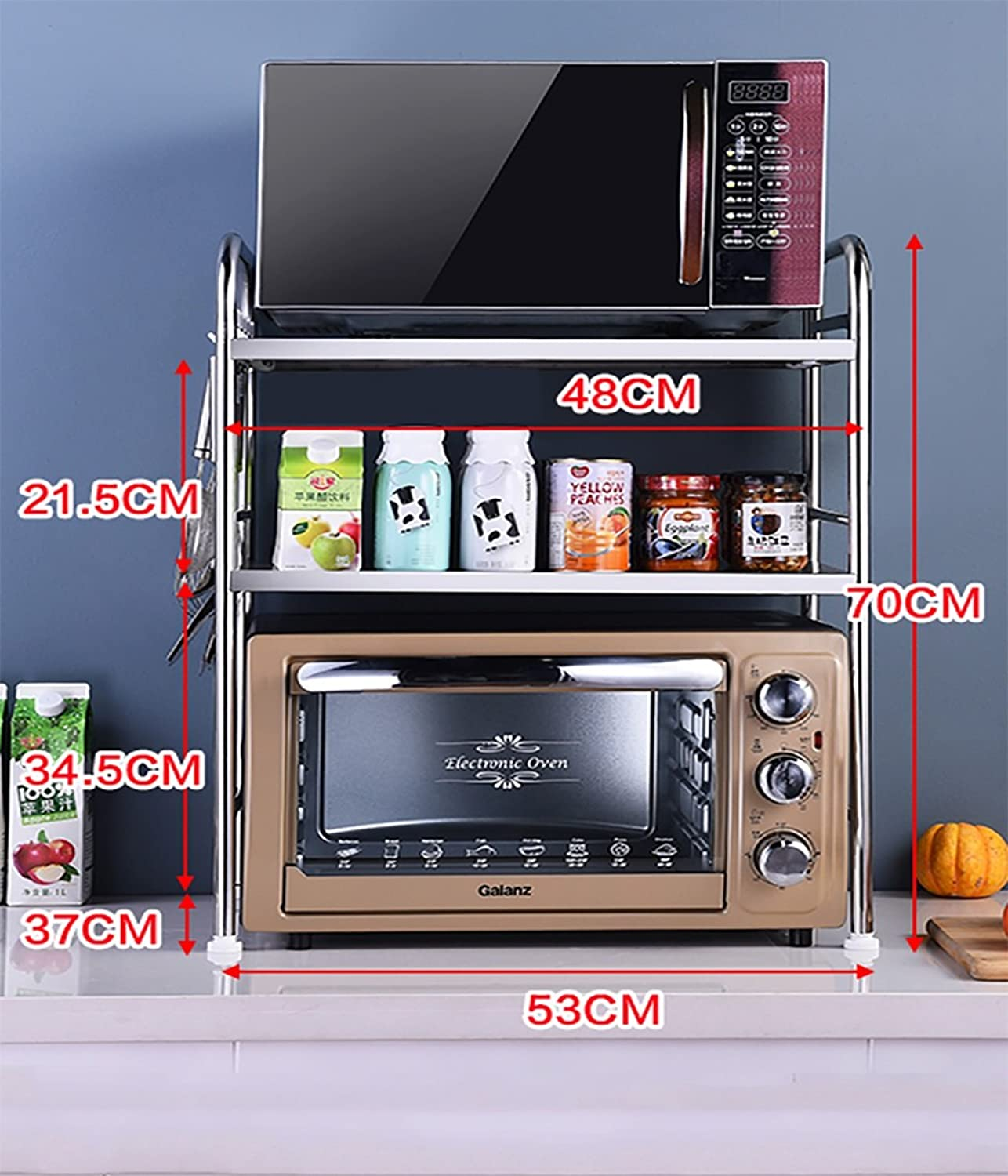 Kitchen Shelf Stainless Steel Microwave Oven Rack Kitchen Counter and Cabinet Shelf Kitchen Storage Racks (Size   53cm37cm70cm)