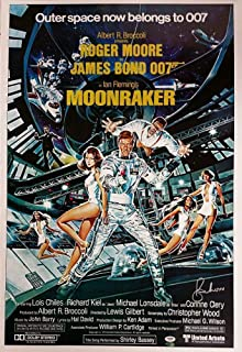 Authentic Autographed Roger Moore 24x36 Moonraker Replica James Bond Movie Poster ~ PSA/DNA COA