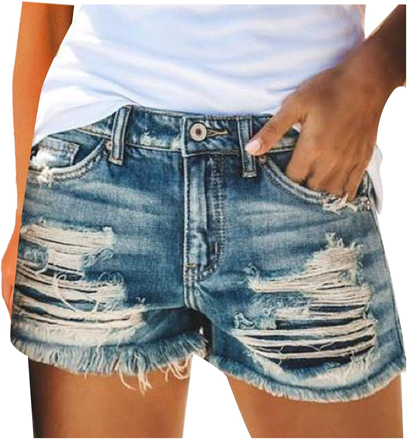 Denim Shorts for Women Distressed Stretchy Fr Credence Ripped gift Jean