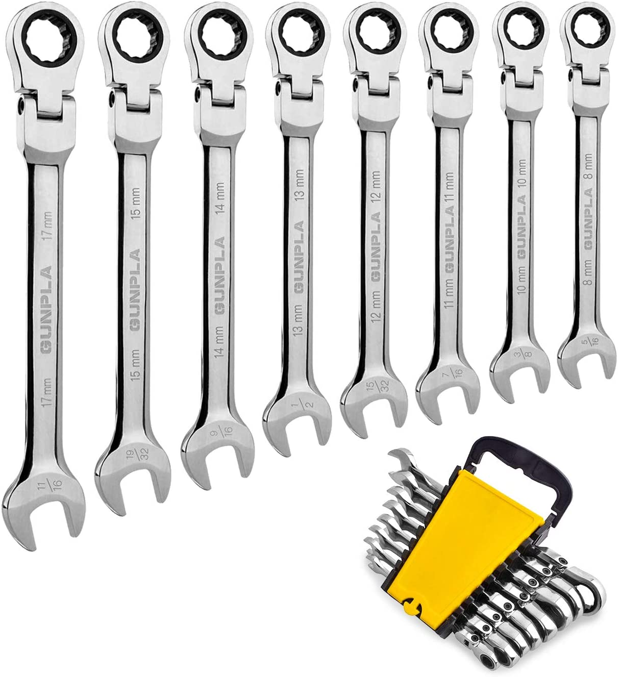 Gunpla 8 Pieces Flexible Head Combination Ratcheting Wrench Spanner Set