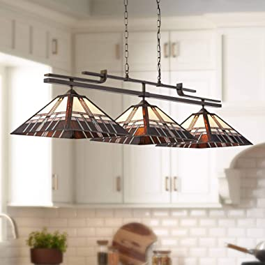"""Pirro Bronze Metal Large Linear Pendant 56"""" Wide Mission Tiffany Style Alfred Geometric Art Glass Shades 3-Light Fixture"""