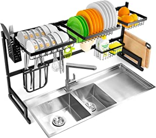 Auledio Adjustable Over Sink Dish Drying Rack, Expandable Stainless Steel Drainer Shelf Kitchen Supplies Storage Organizer Holder, 7 Removable Shelves,5 hooks, Expandable 33'' to 41''(Non-slip)