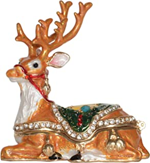 Jiaheyou Reindeer Trinket Jewelry Box Bejeweled Christmas Decoration Gifts Holiday Ornaments