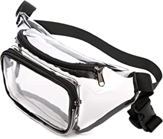 Clear Fanny Pack, BuyAgain Adjustable Waist 0.6mm PVC Fanny Pack bag With Cute Quick Release Buckle Approved for NFL Games, Concert, Travel, Fit for Women, Men, Black