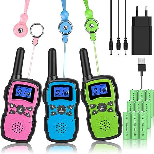 Wishouse Talkie Walkie Enfants Rechargeable Longue Portée 3 Personnes Talky Walky avec Batterie 3X3000mAh Chargeur US...