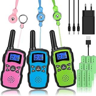 Wishouse M8 Walkie Talkie Niños Bateria USB Recargable, Adultos Walky Talky 3 Piezas Largo Alcance, Cámping Juegos Policia...